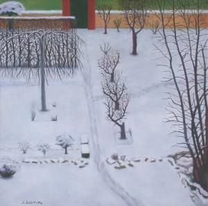 Jardin sous la neige (110x110)